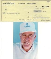 Carl Reiner Hand Signed Check Autographed Hollywood Comic Legend