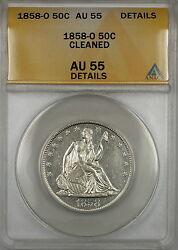 1858-o Seated Liberty Silver Half Dollar Coin Anacs Au-55 Details Cleaned Pl