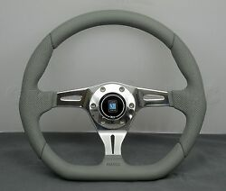 Nardi Kallista Steering Wheel 350 Mm Grey Smooth And Perf Leather Polished Spokes