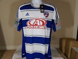 New Adidas Formotion Fc Dallas Advocare Mls Authentic Away Blue Soccer Jersey L