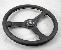Nardi Classic Steering Wheel 360 Mm Black Perf. Leather Grey Stitch Type A Horn