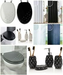 Luxury Diamante Wooden Mdf Wc Toilet Seat Or Shower Curtain With Hooks Spiral