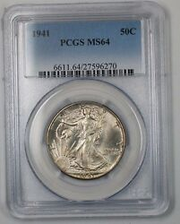 1941 Walking Liberty Silver Half Dollar Coin 50c Pcgs Ms-64 Better Coin 1d