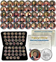 All 45 United States Presidents Full Coin Set Colorized Dc Quarters W/ Box And Coa