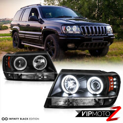 [the Brightest Ccfl Halo Ring] For 99-04 Jeep Grand Cherokee Black Led Headlight