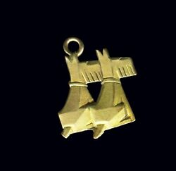 RARE Antique Art Deco 1920's Bauhaus SCOTTIES TERRIERS CHARM Fob Chatelaine