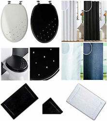 Modern Diamante Wooden Mdf Wc Toilet Seat, Shower Curtains With Hooks And Bath Mat