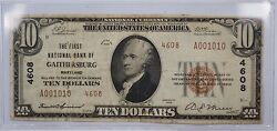 1929 10 National Currency Bank Note- Gaithersburg Md Type 2 Ch4608 Whw