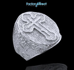 Menand039s Solid White Gold The Russian Eastern Orthodox Cross Ring King Of Glory
