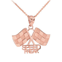 Fine 14k Rose Gold Racing Checkered Flags With Speed Freak Charm Finish Line