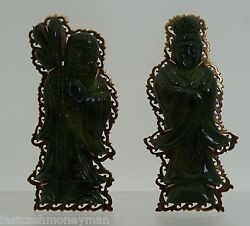 Vintage 12k Yellow Gold Carved Jade Asian Man And Woman Figural Brooch Pin Set