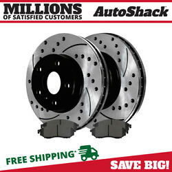 Front Performance Drilled Slotted Brake Rotors And Ceramic Pads Kit