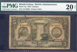 British Guiana P-14a Vf 5 Dollars Toucan Kgvi 1938 Pmg Graded 20