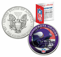 Minnesota Vikings 1 Oz American Silver Eagle 1 Us Coin Colorized Nfl Licensed
