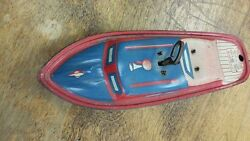 lindstrom tin wind up toy boat metal ship
