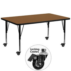 Rectangular Activity Table W/1.25 Thick High Pressure Oak Laminate Top Table New
