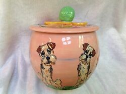 Ceramic Irish Terrier Treat Jar signed by Debby Carman Faux Paw Productions