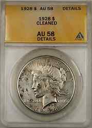 1928 Peace Silver Dollar Coin Anacs 1 Au-58 Details Cleaned 8a