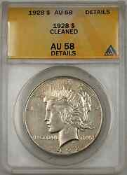 1928 Peace Silver Dollar Coin Anacs 1 Au-58 Details Cleaned 8b