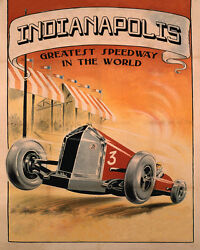 Indianapolis Car Race Grand Prix American Speed 16 X 20 Vintage Poster Free Sh