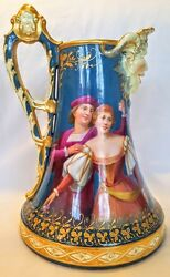 The Best Hand Painted Pitcher With Dance Scene Musicians Satyr Head Spout 1890
