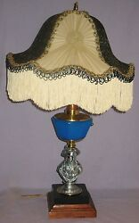 Antique Figural Stem W/blue Font Lamp Electrified W/recovered Victorian Shade