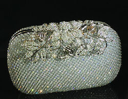 Sparkling Clutch Silver Evening Bag made w Swarovski Crystal Lace Bridal Prom $116.10