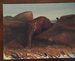 Antique 19th C. Oil Painting On Board American Mountain Lion Landscape