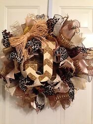 New Handmade Multi-colored Animal Print Mesh Wreath with Glitter Letter