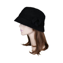 Womens Black Bucket Hat Faux Wool Winter Ladies Hat with Knot on Brim Cloche $15.99