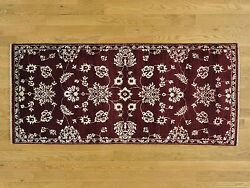 2and0398x6and039 Tone On Tone Modern Agra Burgundy Runner Hand Knotted Rug G27418