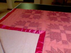 Handmade Quilt, Kingsize Plus, 110in. X 110in, Mauve Pink And Dusty Rose