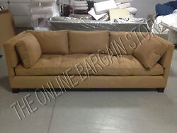 Williams Sonoma Home Pottery Barn Wilshire Sofa Couch Camel Faux Suede 3000