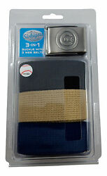 NEW! Chicago Cubs Cubbies Khaki Blue Black 3 Pack of Belt Buckle Removable Gift