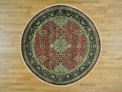 8and039x8and039 New Zealand Wool Round Kashen Revival 300 Kpsi Oriental Rug G28363