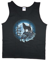 Menand039s Tank Top Lone Wolf Howling At The Moon Wolves Nature Wildlife T-shirt Tee