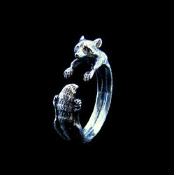 Silver Raccoon Ring Racoon Ring Animal Ring Coon Silver Ring Animal Jewelry