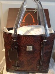 NEW DOONEY BOURKE DISNEY AULANI MICKEYMINNI MOUSE CHIPDALE COGNAC LEATHER TOTE