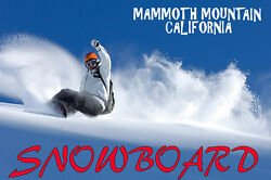 Snowboard Mammoth Mountain California Winter Sport Vintage Poster Repro Free S/h