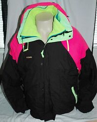 Vintage Black With Neion Green Blue Pink Columbia 3 In 1 Jacket Menand039s Large 90s