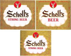 Lot Of 3 Different Unused Early-1950s Schelland039s Beer Labels Tavern Trove New Ulm