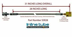 Stainless Steel Braided Rear Brake Hose 3/16 Tube With Tee -3an 3an 31 Long