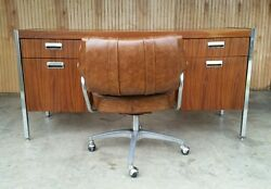 Vintage 70s Mid Century Modern Computer Age Executive Desk And Chair Retro