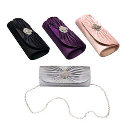 Elegant Cross Pleated Satin Flap Crystal Clutch Evening Bag Diff Colors Avail $13.99