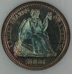 1868 Seated Liberty Proof Half Dime Ngc Pf-64 Toned Ogh