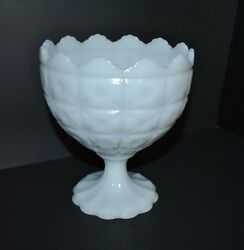 Vintage Napco Milk Glass Compote Bowl In Buttons And Stars Pattern