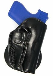 Premium Black Leather Quick Draw Open Top PADDLE Holster for KEL-TEC PF9 P-11