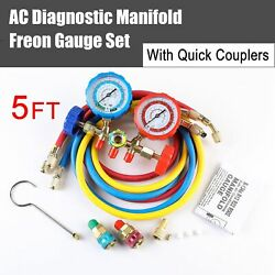 Hvac R134a R22 R12 R502 Diagnostic Brass Manifold Gauge Acme Adapter And 5ft Hoses