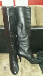 Nib Sexy Leather Knee High Chain Classic Cc Leather Tall Boots 40.5 Heels