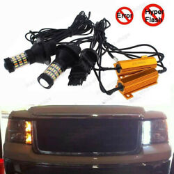 4Pcs Plug&Play Switchback Front DRL Signal LED Light + Resistor For GMC Sierra